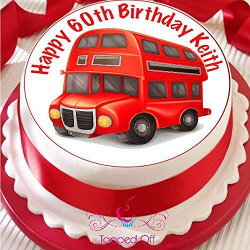 Roter Londoner Bus 19.05 cm (19 cm), rund, für fondant/Kuchendeko, Topped Off (Kreditkartenformat)