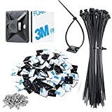 3/4' Strong Black Cable Zip Tie Mounts with 8' Zip Ties and 100 PCS Screws, Sticky Cable Clips Self Adhesive Wire Cable Clips Management Anchors Organizer Holders 100 PCS