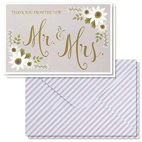 Dankeskarten zur Hochzeit, Dankeskarten, 48 Stück, mit Goldfolie und Blumen-Design, 10 x 15 cm