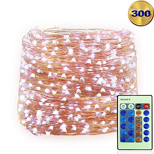LED String Lights 99ft 300 LEDS Waterproof Copper Wire Fairy Light Twinkle Decorative Lighting for Christmas Tree,Festival Holiday,Birthday Party,Garden,Wedding,Indoor& Outdoor,Home,Patio (White)