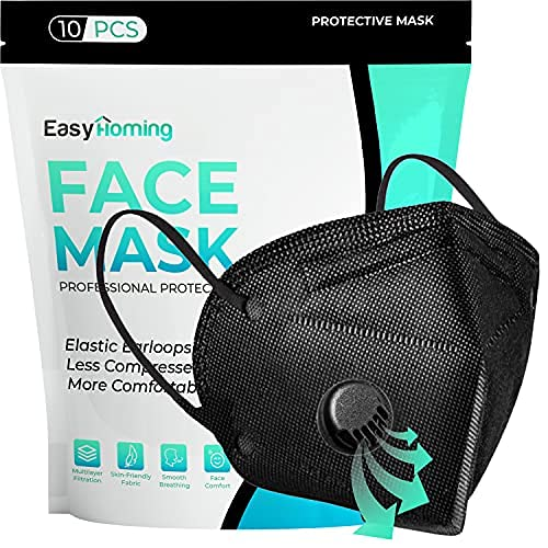Black Face Mask With Filter | 6 Layers | 10pcs ᴋɴ𝟿𝟻 | Disposable Face Masks | Face Masks For Women For Men | Respirator Mask | Breathable Face Mask | Non-Woven Disposable Masks