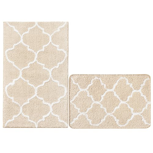 U'Artlines Kitchen Mat, Decorative Non-Slip Microfiber Doormat Bathroom Mats Shower Rugs for Living Room Floor Mats (17.7x25.6+20.9x33.9, Cream)