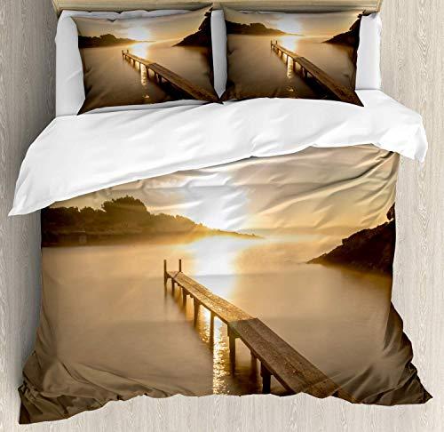 Juego de funda nórdica Beach Pathway, Playa del Espanyol en Ibiza al amanecer Islas Baleares España Paisaje marino, Juego de cama decorativo de 3 piezas con 2 fundas de almohada, marrón tostado y amar