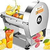 Newhai Electric Commercial Vegetable Fruit Slicer 0-10mm(0-0.4'') Thickness Adjustable Commercial Food Slicing Cutting Machine Fruit Cutter Stainless Steel for Potatoes Lemon Tomatoes (110V US Plug)