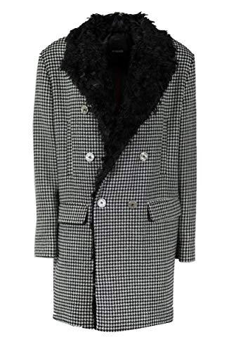 Pinko Martino Caban Doppio Disegnato Cappotto, Multicolore (Nero/Bianco Zz2), (Taglia Produttore:40) Donna