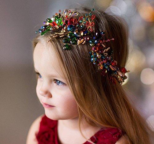 fxmimior Haarband Rot & Grün Stirnband Brautschmuck Blumen Kristall Girl Haar-Zubehör Weihnachten Vine Diadem Abend Stück Kopfbedeckung individuell Kranz lang Stück Hochzeit Haarschmuck