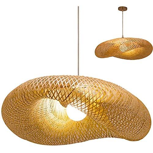 PDXGZ Lámpara Colgante Vintage Lámpara Colgante de bambú Natural Hecha a Mano Nostálgico E27, luz de Techo Tipo bambú para Sala de Estar, Oficina, Sala de Estar