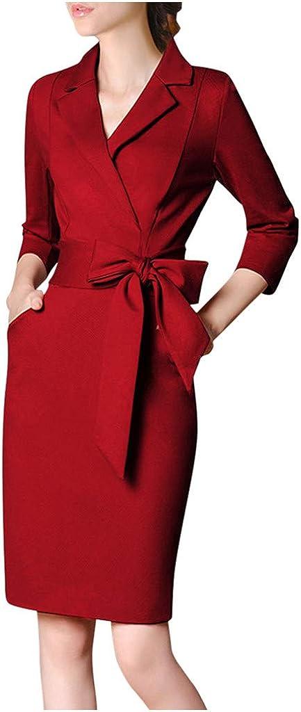 MINGE Women Notched Neck Slim 3/4 Sleeve Splice Bow Business Formal Work Pencil Dress