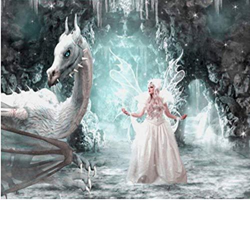 Myytcy Dio Unicorno Bellezza e Drago Diamante Ricamo Cavallo Bianco Fai da Te Pittura Diamante 3D Colorare con Numeri per...