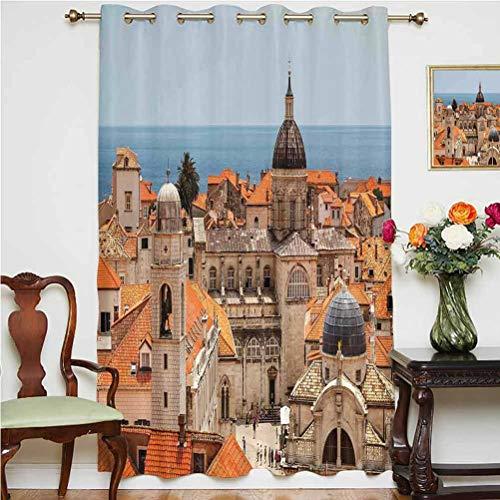 Cortina opaca con vista aérea de la ciudad vieja de Dubrovnik, decoración europea, decoración de Croacia medieval, con respaldo térmico para puerta de cristal, 160 x 213 cm, para cristal Doo