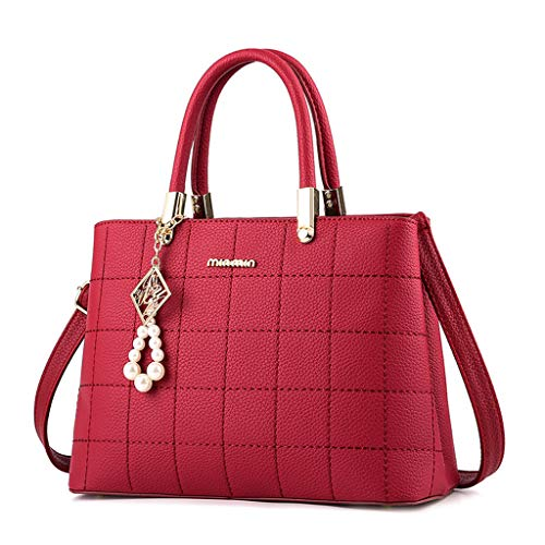 niumanery Charm Lady Women Handbag Fashion PU Leather Luxury Shoulder Bags with Handle Diagonal Bag Wine Red