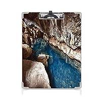 個性的 キングジム:クリップボード カラー A4判タテ型 自然の洞窟の装飾 アイデア多機能メニュー 熱帯の土地の写真マルチの日没時間の地平線でビーチと海の外側の洞窟
