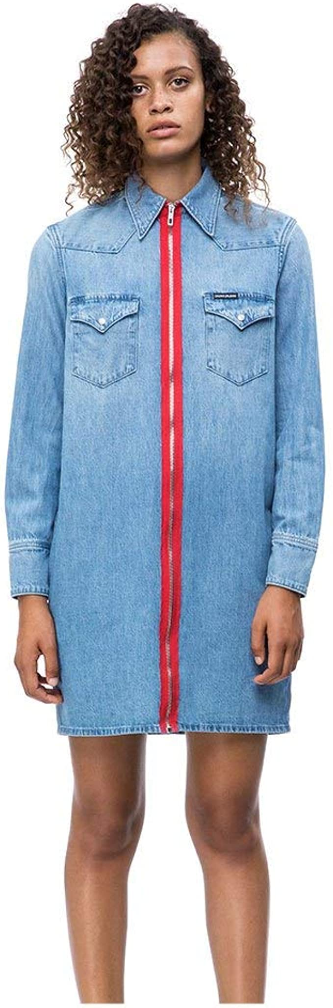 Calvin Klein Jeans Damen Blusenkleid Foundation blauM 20 ...