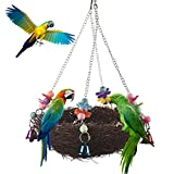 Natural Rattan Nest Bird Swing Toy with Bells for Parrot Budgies Parakeet Cockatiels Conure Lovebird Finch Cockatoo Macaw African Greys Cage Perch Stand (L)