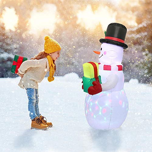 YONII 5ft Christmas Inflatables Blow Up Yard Decorations, Upgraded Snowman Hold Gifts Xmas Inflatable with Rotating LED Lights for Indoor Outdoor Yard Garden Christmas Decorations