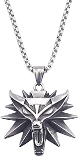 QVXEF Silver Stainless Steel Mens Witcher Wolf Charms Pendant Necklace Rolo Chain 3mm 24'' Biker Jewelry Xmas Gifts
