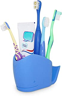 Wrewing Whale Silicone Toothbrush Holder for Kids, Kids Bathroom Toothbrush, Toothpaste Storage Assistant. (Blue)