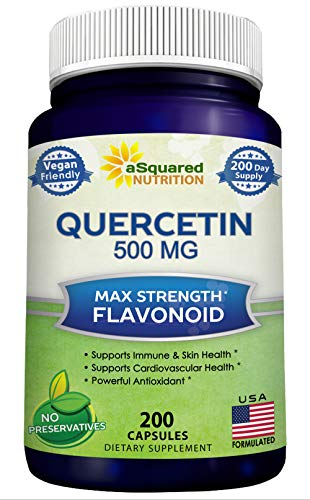 Quercetin 500mg Supplement - 200 Capsules - Quercetin Dihydrate to Support Cardiovascular Health - Max Strength Powder Complex Pills to Help Improve Anti-Inflammatory & Immune Response