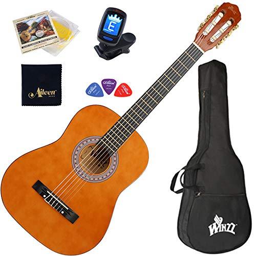 """Winzz Konzertgitarren Nylonschnur 3/4 Größe 36"""" Anfängerkit für Studenten mit Gigbag, Clip-On-Stimmgerät, zusätzlichen Saiten und Poliertuch"""