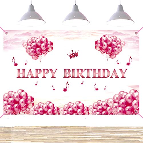 Ushinemi Happy Birthday Backdrop Banner for Girls Women Party, Large Birthday Party Decorations Photo Background, Pink and Rose Gold, 6 x 3.6 Feet