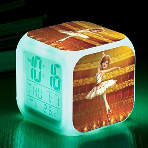 hulinhai Ballerina LED Wecker Cartoon Digitaler Wecker Kinder Spielzeug Wecklicht LED Uhr Wecker Schreibtisch Schreibtisch Wecker
