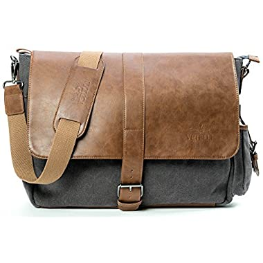 Vetelli Laptop/Computer/Messenger/Tablet Bag with scratch protection lining for laptops or Macbooks up to 15.6 . Leather + Charcoal Grey Canvas - Large size bag: 18  x 12  x 5
