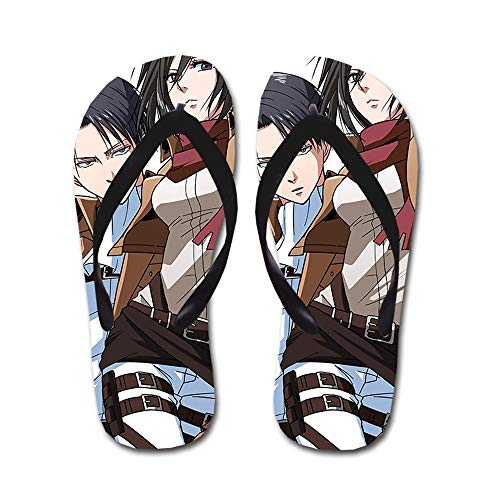 KaiWenLi Attack On Titan Series/Levi · Rivaille and Mikasa Pattern/Anime Flip Flops/Beach Beach Shoes/Thong Sandals/Best Shoes in Summer/Best Gifts for Anime Fans and Otaku (Size : M)