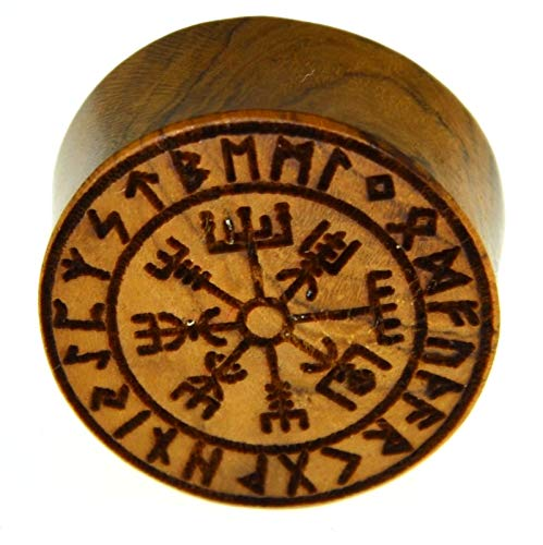 Flesh Holz Plug Vegvisir Viking Wikinger Kompass mit Runen Ring, double flared Tunnel Expander Dehner aus Teakholz in braun, Lobes Piercing mit Laser Gravur für Damen und Herren,10mm - 20mm 14 mm