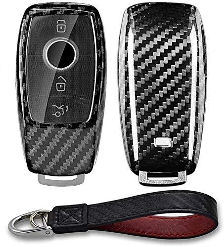 Kwak's Funda protectora para llave de coche con diseño de fibra de carbono compatible con Mercedes