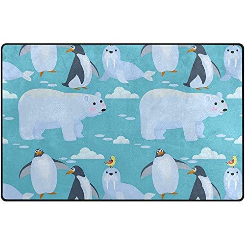 Fun-World Area Rug Decorazione per zerbino con tappetino per tappeti morbidi e leggeri per l'ingresso Nelle stanze Animali del Polo Nord, 150X100 cm