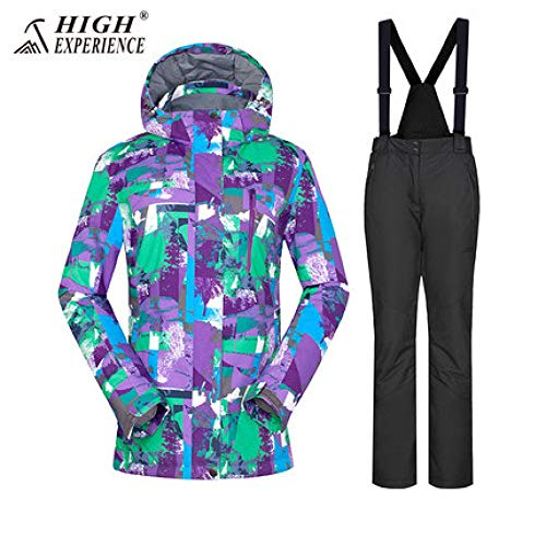 JSGJHXFHigh Experience Skipak voor dames, sneeuwkleding, ski-jack voor dames, bergen, skiën en winter, warm sportpak