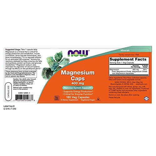 NOW Magnesium 400mg, 180 Veg Capsules