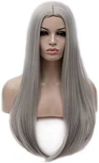 BERON 25 inches Silky Long Straight Wig Charming Women Girls Straight Wigs for Cosplay Party Daily Use Wig Cap Included (Silver Grey)