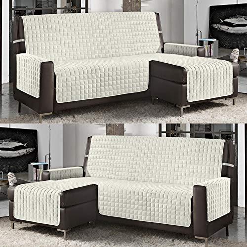 Banzaii Funda de Sofá Cubre Chaise Longue Acolchada Lisa 4 Plazas (290 cm) con Chaise Longue Izquierda/Derecha Crema