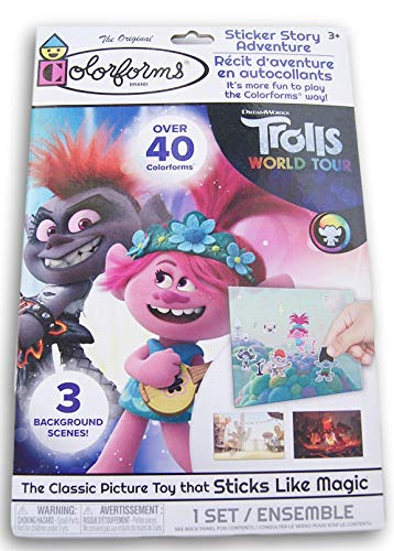 Trolls Colorforms Sticker Story Adventure - The Classic Picture Toy That Sticks Like Magic - 3 Background Scenes and Over 40 Colorforms