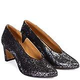 Zapatos Tacón Medio Tiffany | Zapato Salón Mujer Piel con Estampado Pixel Plata | Puntera Fina y Tacón Base Ancha y Perfil Estrecho | Piso Suela | Forro Piel Natural | Talla 36
