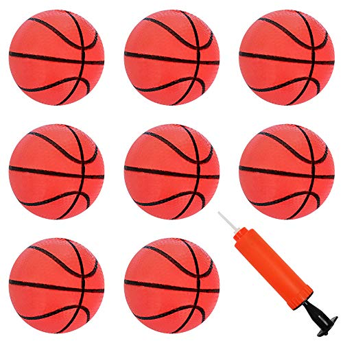 3.15 Inch Mini Basketball Ball for Mini Hoop Goal Game Replacement Mini Toy Basketball for Toddlers Kids Mini Hoop Basketball Toy Indoor Outdoor Beach Pool Basketball Game, with Inflation Pump, 8 Pack