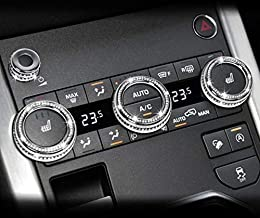 NIUHURU Car Interior Bling Accessories fit for Range Rover Evoque 2012-2018 Air Conditioner Knob Rhinestone Decals (Silver)