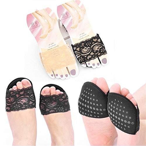 #N/V 1 par de zapatos de tacón alto invisibles, antideslizantes, de media yarda, de algodón, plantillas de encaje, color negro, 10 x 7 cm