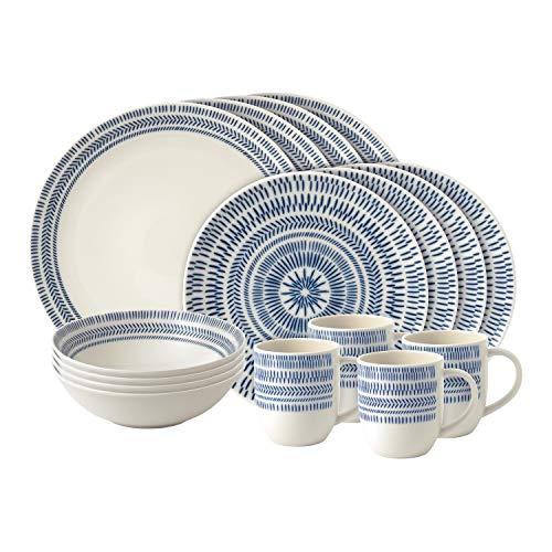 Royal Doulton 16pc Set Chevron, Porcelain, Dark Blue, 36.2 x 27.8 x...