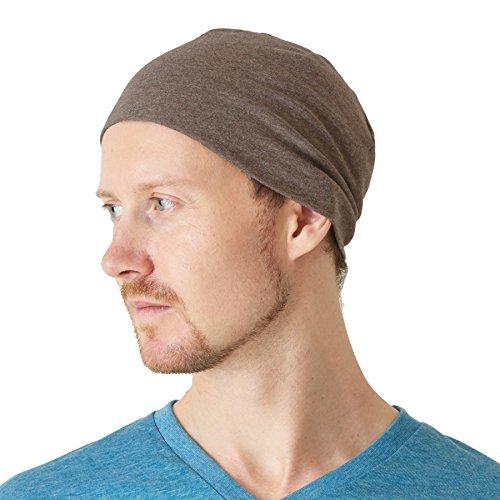 CHARM Casualbox | Herren Damen 100% Bio Baumwolle Beanie Hut Weich Fest Passen Chemo Mütze Medizinisch Tragen Unisex Braun