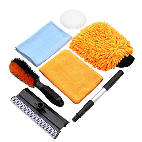SCRUBIT Car Cleaning Tools Kit by Scrub it- Squeegee Car Wash Brush, Wheel Brush, Microfiber wash mitt and Cloth - for Your Next Vehicle wash and Wax with Our 6 PC Cleaning Accessories