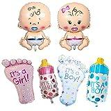 6 piezas Globo de Papel de Bebé, Chupete para Bebés, Biberón, Pies, Abertura de Globo Sellada Automáticamente, para Nacimiento de Babyshower, Decoración de Fiesta de Revelación de Género