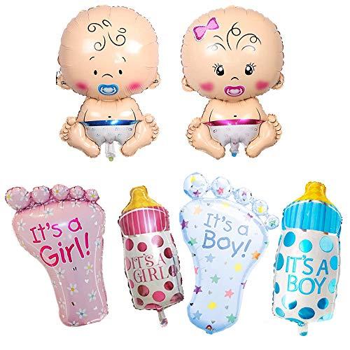 6 Stück Baby Folienballon, Schnuller Baby, Nuckelflasche, Füße, Automatisch Versiegelt Ballonöffnung, für Babyshower Geburt, Gender Reveal Party Dekoration