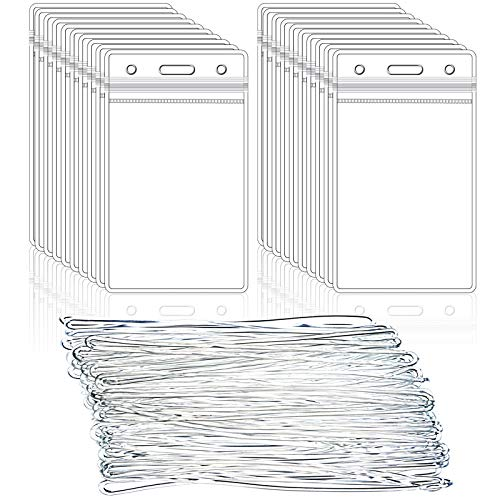 100 Pack Clear Luggage Tags Bag Tag Holder Identification ID Card Badge Holder with Luggage Tag Loop Straps for Business Travel and Office Supplies