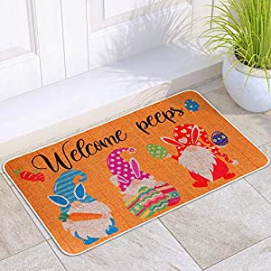 "Easter theme designed -This Easter doormat is printing in ""Welcome peeps"",which is designed with gnomes,Easter eggs in vibrant colors.Using this adorable ""Welcome peeps"" doormat to add the Easter atmosphere and greet guests to your home this year. Th..."