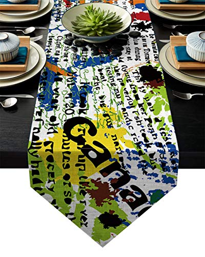 Chemin de Table Hip Hop Street Culture Graffities Spray Artwork Image Petit Chemin de Table chemins de Table,décoration de réception de Mariage surdimensionnée Soyeuse
