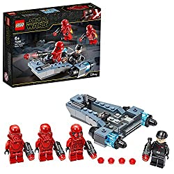 Features a battle speeder with room in the cockpit for 2 minifigures, 2 blasting blue engines and grey-blue-black colour scheme Includes 4 minifigures: First Order Officer, Sith Trooper and 2 Sith Jet Troopers, with 4 stud-shooting blasters and 2 jet...