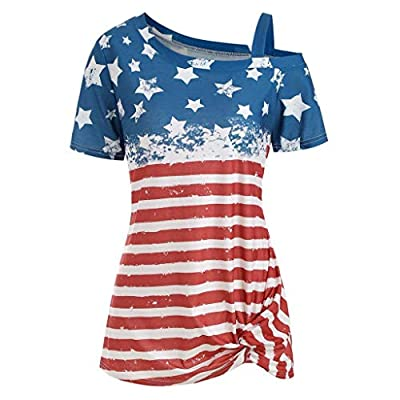 YFancy 4th of July Shirts Fashion Women Off Shoulder American Flag Printed T-Shirt Side Twist Knot Short Sleeve Blouse Red from YFancy