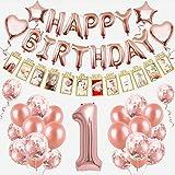 1er Cumpleaños Bebe Globos Decoracion Cumpleaños 1 Año Bebe Niña, Globo Numero 1 Oro Rosa, con Pancarta de Fotos para bebés de 1 a 12 Meses, Pancarta de Feliz cumpleaños Globos